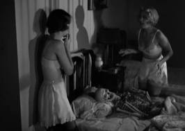 In the film, the skeleton wound up in the bed, not the baby carriage.