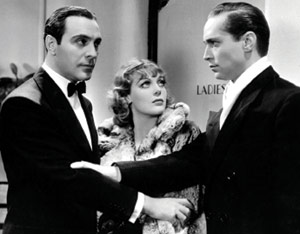 """Loretta Young is caught between a Tone and a Cortez in """"Midnight Mary."""""""