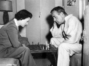 Bennett and Bogart relax on the set of We're No Angels.