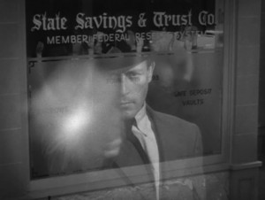 A rather noirish shot of Tierney in Dillinger.