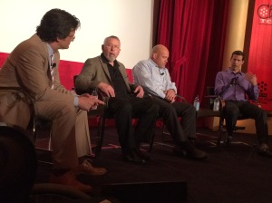 Ben Mankiewicz with Tony Mendez, Mark Schulz, and Aron Ralston.