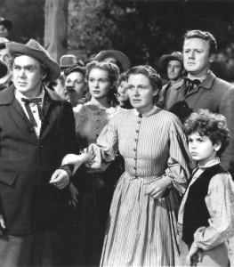 With Thomas Mitchell, Janet Leigh, and Van Johnson in The Romance of Rosey Ridge (1947).