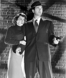 Ellen Drew (here, with John Payne) was discovered in an ice cream parlor.